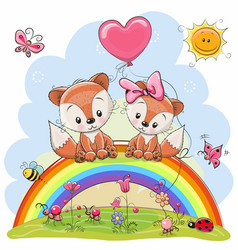 two foxes are sitting on the rainbow vector image vector image