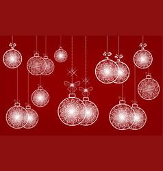 white christmas retro ball set vector image