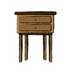 Wooden table furniture drawers handle vector