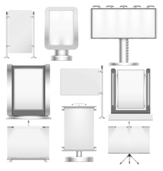 Blank trade stand displays and billboards isolated vector