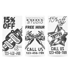 Set of vintage templates for tattoo studios vector