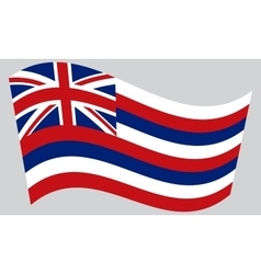 Flag of Hawaii waving on gray background vector image