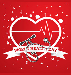 World health day concept with doctor stethoscope vector