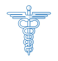 blue silhouette shading health symbol with serpent vector image