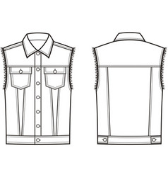 Jean vest front and back vector