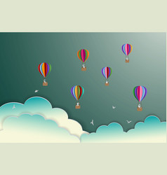 colorful hot air balloons floating on the sky vector image