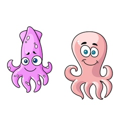 Squid and octopus cartoon characters vector