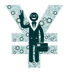 Businessman showing victory sign on a background vector