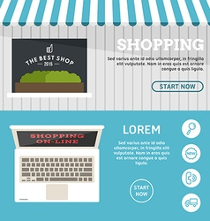Shopping on-line set of flat design concepts for vector