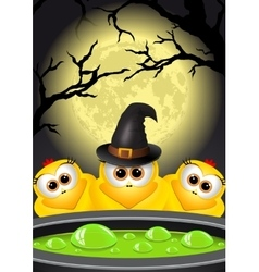 Postcard halloween witches brews a magic potion vector