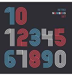 Retro stripes funky numbers settrendy elegant vector