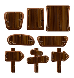 A set of wooden boards panels and signs-1 vector