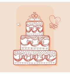 Decorated cake with pair of swans design element vector