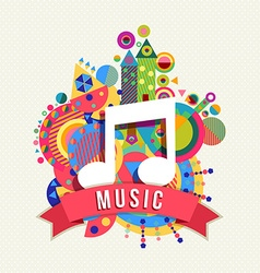Music note icon audio label with color shapes vector