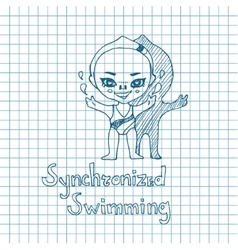 Sketch girl synchronized swimmer vector