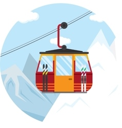 A ski lift cable car for vector