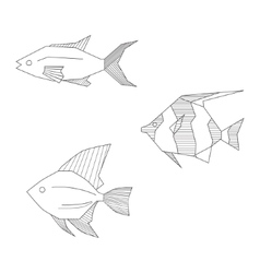 Abstract black and white fishes vector