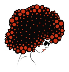 Abstract color round hair - vector