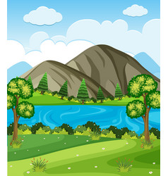 Background scene with mountains and lake vector