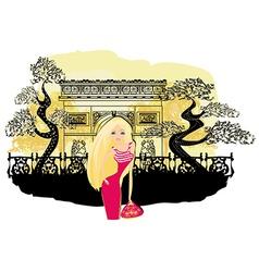 beautiful women Shopping in Paris vector image
