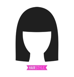 Black flat silhouette hairstyle on white vector image vector image