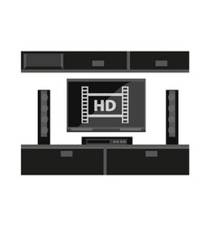 black furniture for tv set isolated on white vector image vector image
