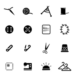 black sewing icon set vector image