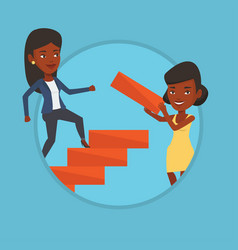 business woman runs up the career ladder vector image vector image