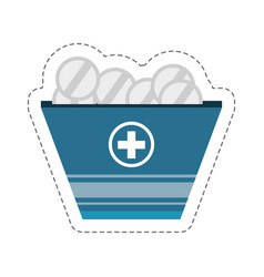 cartoon pack medicine pill icon vector image