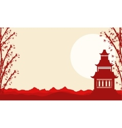 Collection landscape of pavilion chinese theme vector