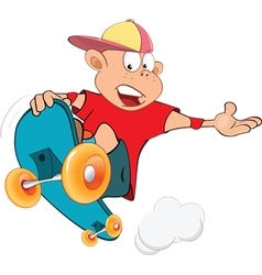 Cute little boy skateboarder vector