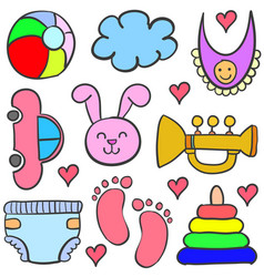 doodle of element baby set vector image