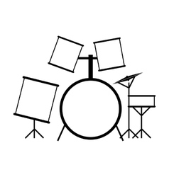 Drum set black icon vector