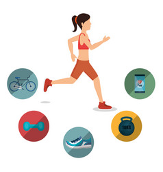 Female athlete practicing exercise vector