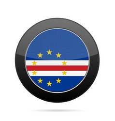 Flag of cape verde shiny black round button vector