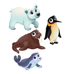 Funny polar animals vector image