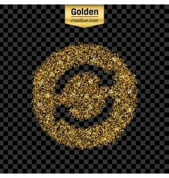 Gold glitter icon of arrows isolated on vector image