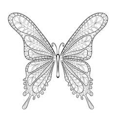 Hand drawn zentangle tribal butterfly pattern for vector image vector image