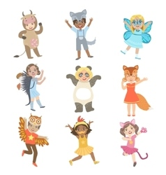 Kids Dressed As Animals Set vector image vector image