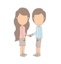 Light color caricature faceless full body couple vector