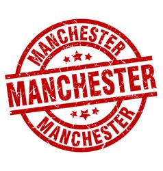 Manchester red round grunge stamp vector