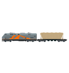 orange locomotive with hopper car vector image vector image