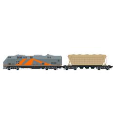 Orange locomotive with hopper car vector