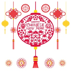 Papercut lantern chinese new year vector