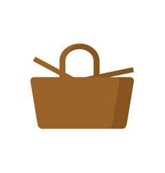 Picnic basket isolated wicker basket on white vector