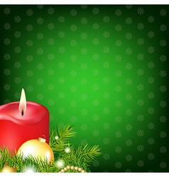 Red Christmas Candle With Fur Tree vector image vector image