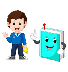 school boy with a giant book vector image vector image