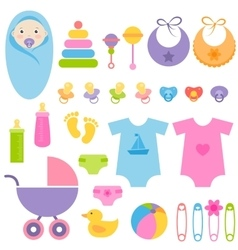Set of baby elements vector