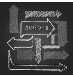 Set of chalk drawing arrows vector