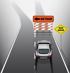 Sport car is braking when see detour signs vector image vector image